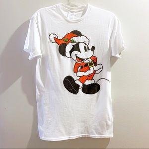 Disney Mickey Mouse Santa Graphic T Size S